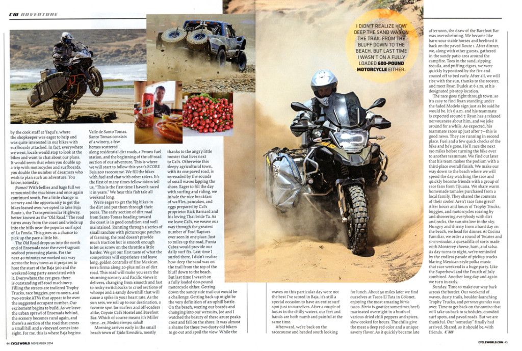Cycle World magazine Baja 500 Surf and Turf with Pronghorn Straps