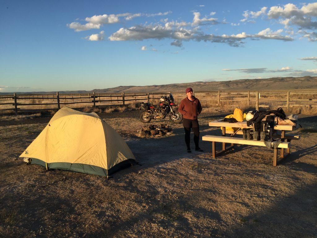Motorcycle camping set up at Cyrstal Crane Hot Springs