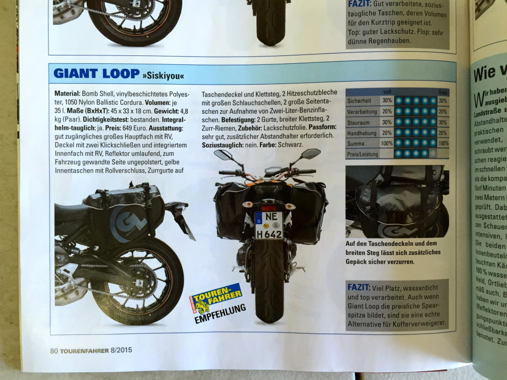 "Germany's ""Touren-Fahrer"" Magazine Recommends Giant Loop's Siskiyou Panniers"