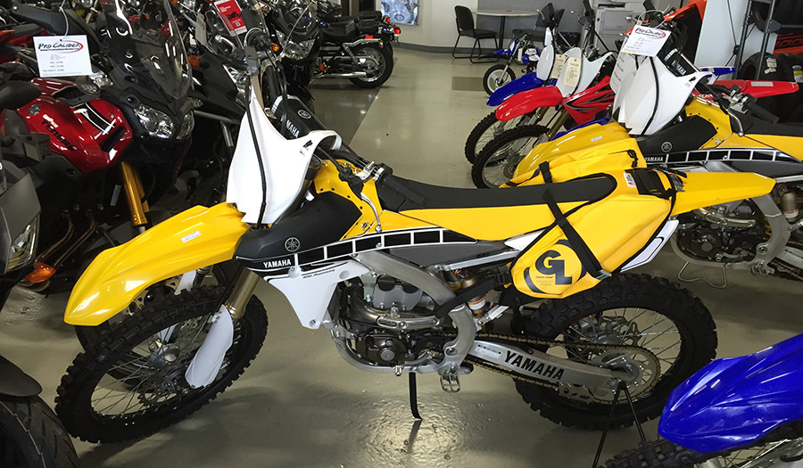 YELLOW MoJavi Saddlebag on Yamaha YZ250F 60th Anniversary