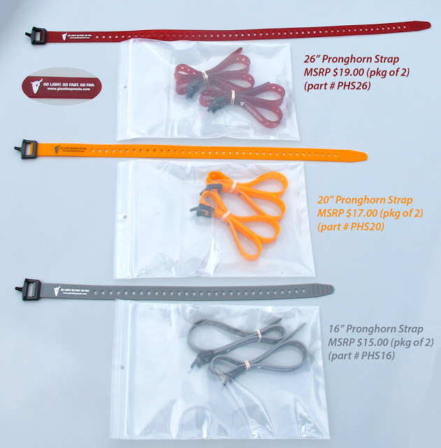 "Giant Loop's new Pronghorn Straps, available in 16"",  20"" and 26"" lengths in packages of two."