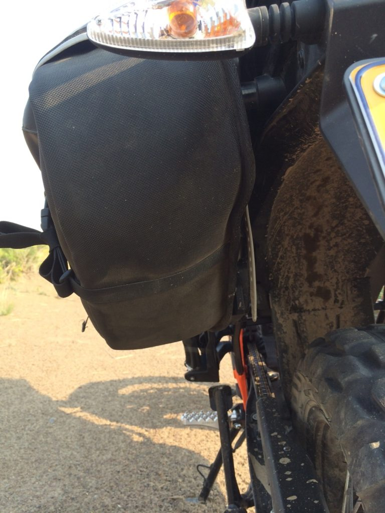 Giant Loop Siskiyou Panniers supported by factory KTM luggage mounts