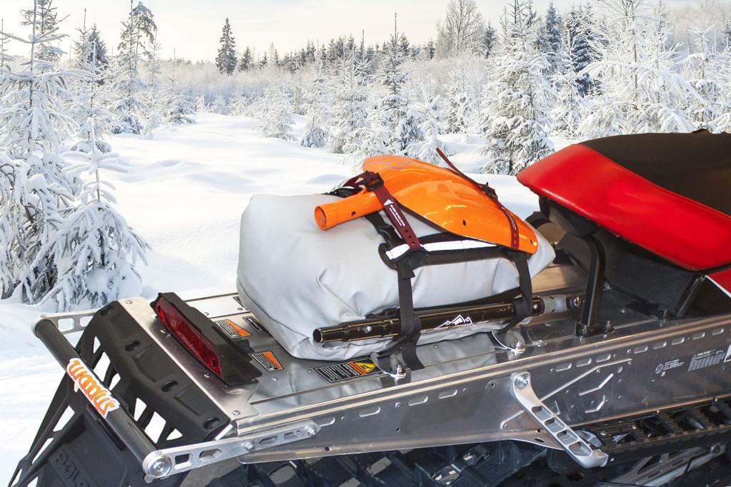 Revelstoke Tunnel Bag on snowmobile