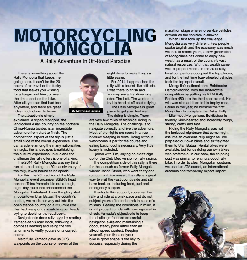 American Motorcyclist Lawrence Hacking Motorcycling in Mongolia
