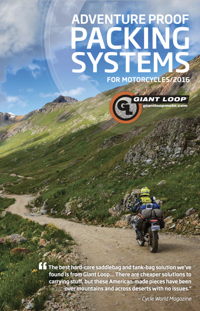 2016 Giant Loop Catalog cover photo by MotoLara.