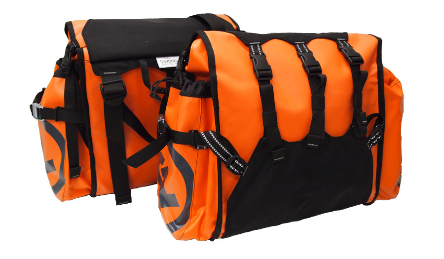 Round the World panniers in limitied edition orange