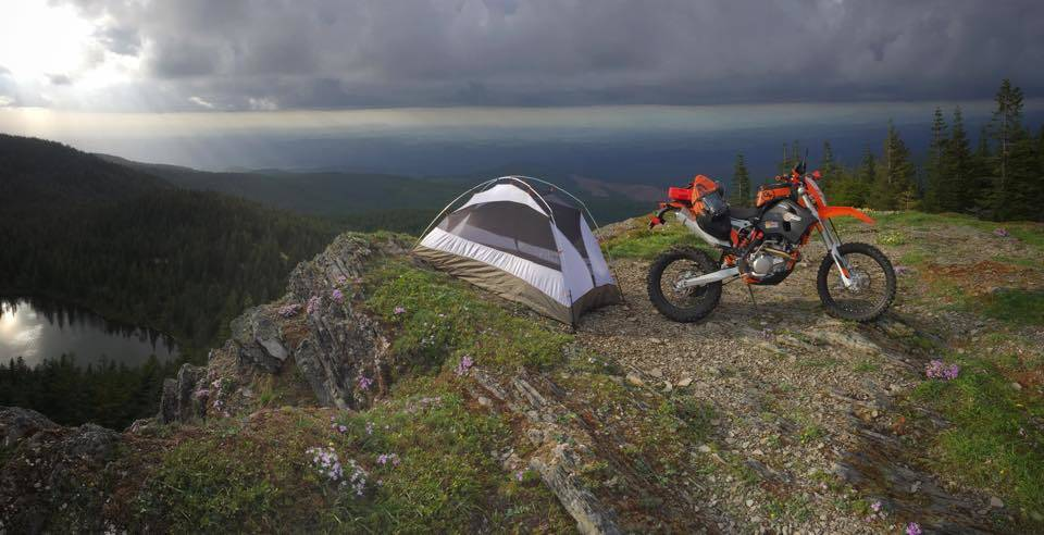 David Schelske dual sport camping on KTM 500 EXC