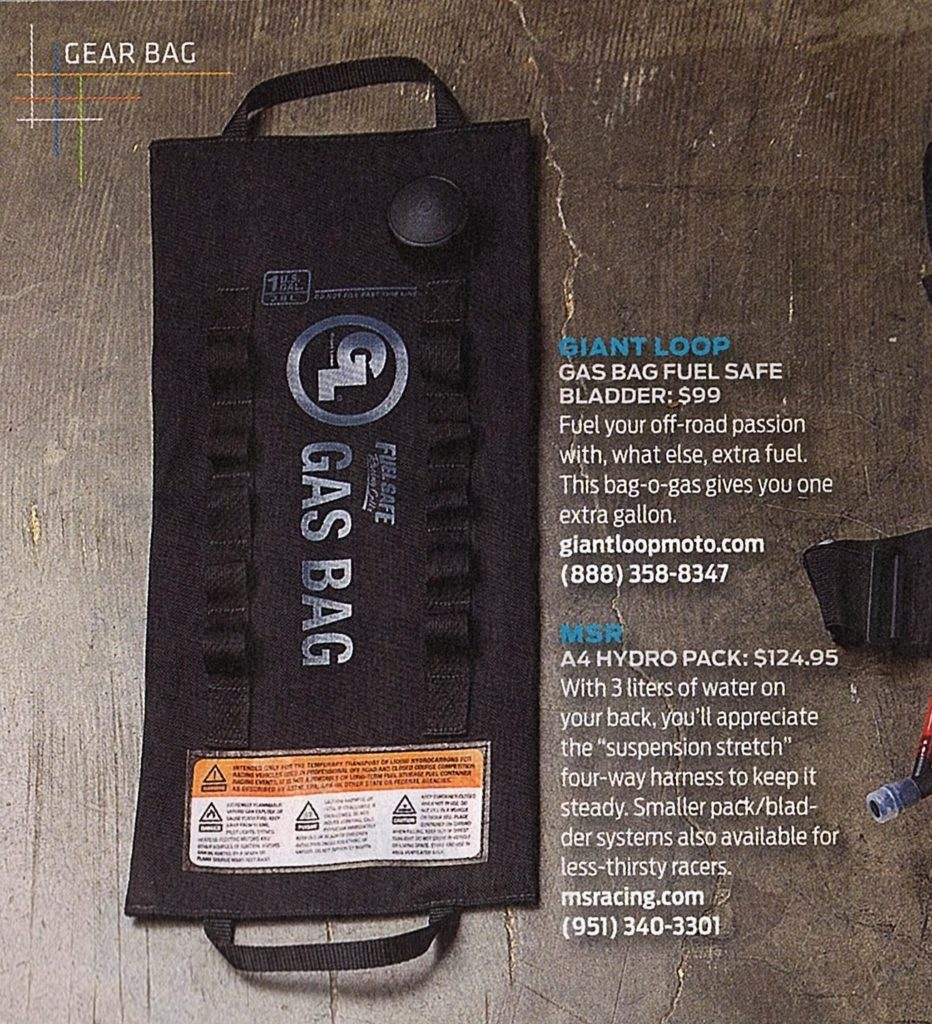 Gas Bag Fuel Safe Bladder in Dirt Rider Magazine