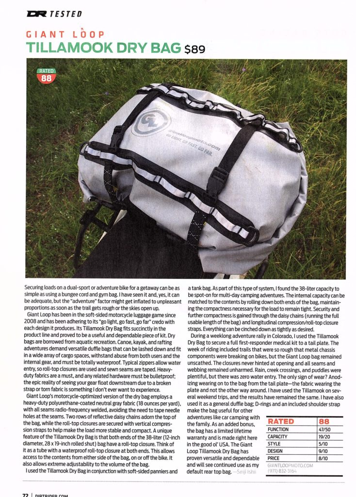 Seiji Ishii reviews Giant Loop's 38-liter waterproof Tillamook Dry Bag for Dirt Rider Magazine