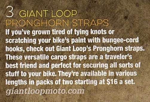 Motorcyclist Magazine features Giant Loop Pronghorn Straps in Summer Travel Gear showcase