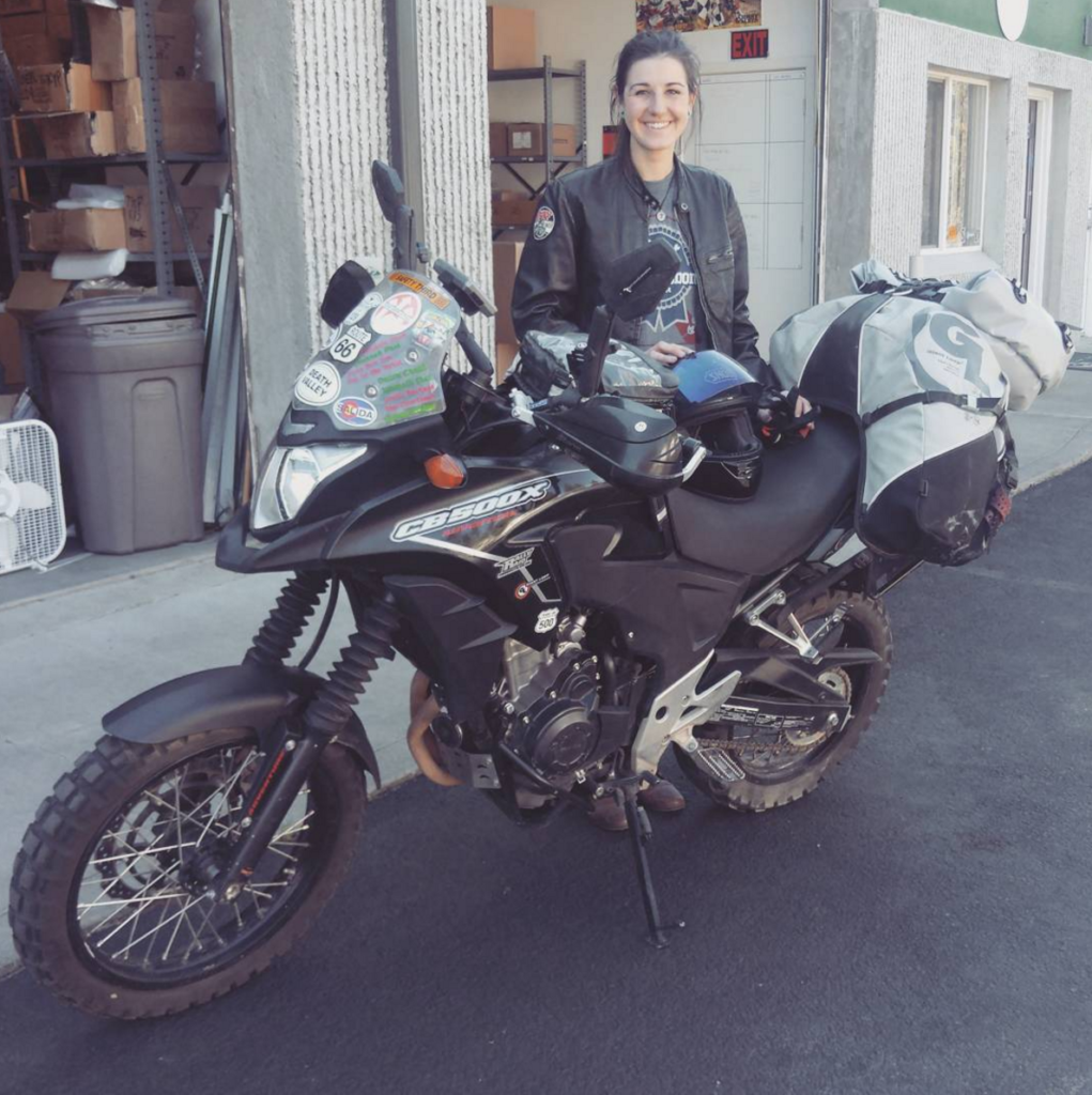 Giant Loop intern, Sydney, about to set off to Washington on the Honda CB500X